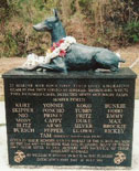 "Statue of ""Kurt"", a Doberman who saved the lives of 250 U.S. Marines when he alerted them to Japanese soldiers"